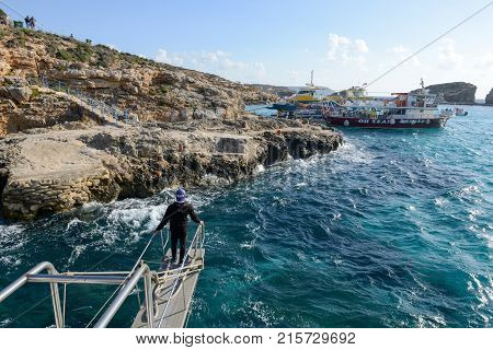 Tourist Boat Is Landing At The Island Of Comino, Malta