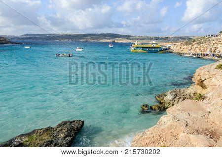 Blue Lagoon On Comino In Malta