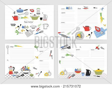 Collection of card templates for making notes about preparation of food. Blank recipe book or cookbook pages decorated with colorful kitchen utensils and cooking ingredients. Vector illustration