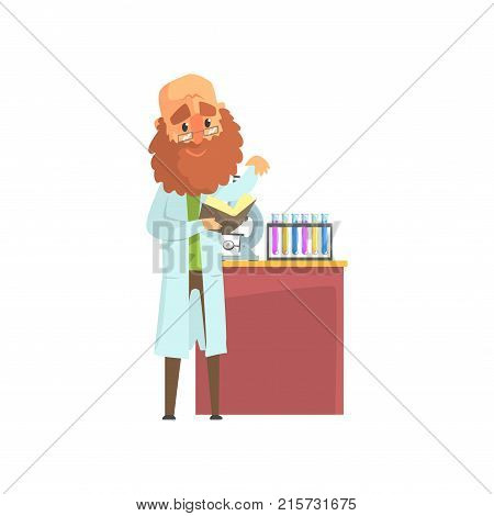 Bearded scientist man in lab coat standing with book in hands. Chemical test tubes and microscope on the table. Laboratory equipment. Scientific research concept. Isolated flat vector illustration.