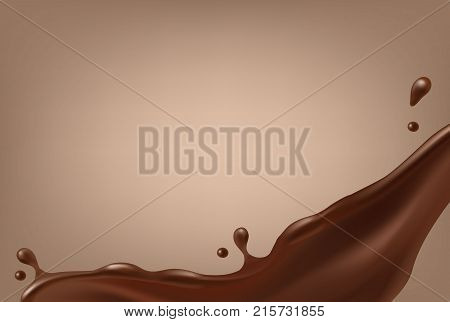 Vector realistic melted chocolate flow border isolated on light brown background
