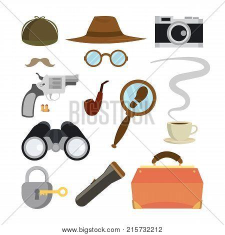 Detective Items Set Vector. Tec Agent Accessories. Hat, Glasses, Mustache, Tobacco, Camera, Magnifying Glass, Lock Key Flashlight Binoculars Bag Gun Bullets Isolated