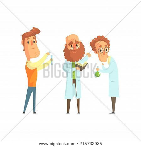Group of men scientists in laboratory. Funny and smart chemist, physicist and biologist characters in flat style. Smart people concept. Modern vector illustration isolated on white background.