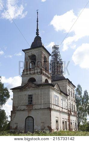 Village Borovin, Verhovazhskogo district of the Vologda region, Russia. Church of the Merciful on Borovin