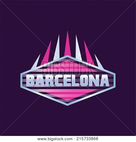 Barcelona city logo design in hexagon shape. Geometric icon with caption. Abstract typography template for european city of Spain. Isolated vector illustration for sticker, poster or mobile app sign.