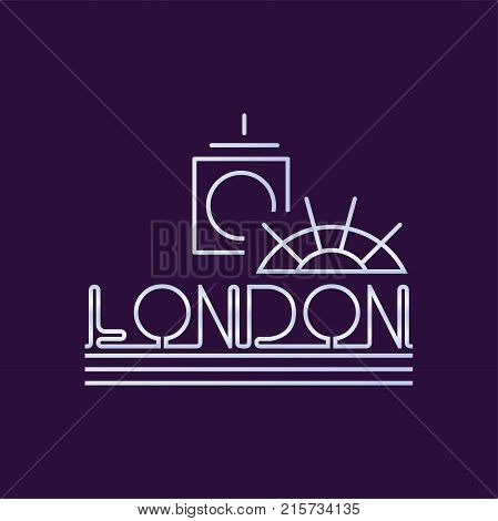 Creative London city logo in line style. Abstract Big Ben clock tower and ferris wheel. Design template for business sign, flyer, website or print. Vector illustration isolated on purple background.