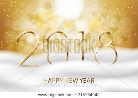 Vector Happy New Year 2018 - New Year Colorful Winter background with gold text. Greetings New Year banner with snow and bokeh. Vector EPS 10