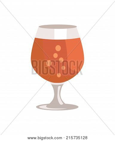 Snifter glass of beer in transparent glassware vector illustration isolated on white. Dark alcohol beverage, symbol of Oktoberfest fest in cartoon style