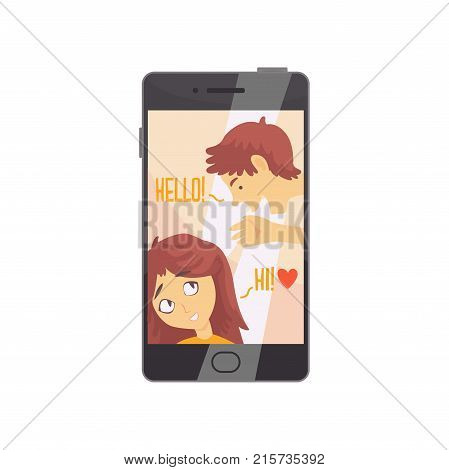 Smartphone with opened love chat and cute boy and girl avatars. Online dating service or website concept with people talking. People finding love. Vector flat style illustration isolated on white.