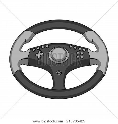 Game steering wheel single icon in monochrome style for design.Car maintenance station vector symbol stock  illustration.