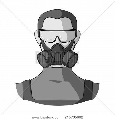 A man in a raspirator and glasses single icon in monochrome style for design.Pest Control Service vector symbol stock illustration .