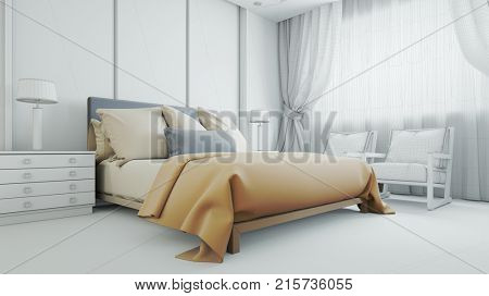 Custom made and individually hotel room planner configure CAD bedroom plan (3D Rendering)