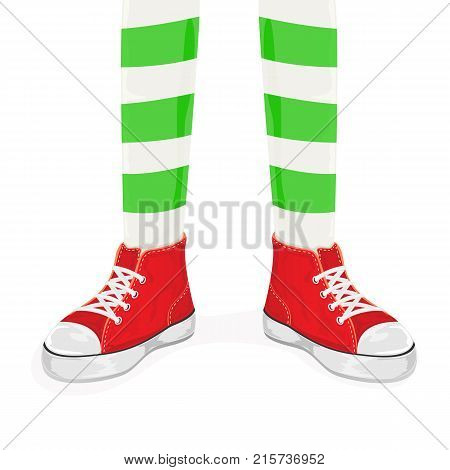 Elf legs in red shoes isolated on white background, illustration.