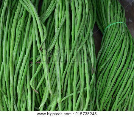 Fresh Green String Beans At Rural Market