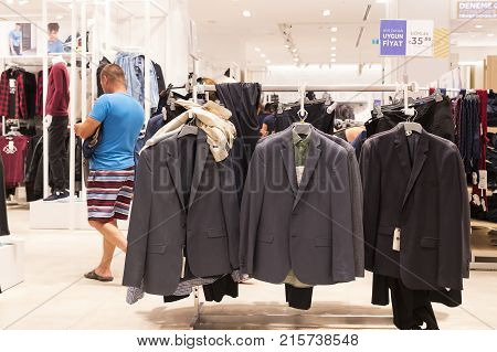 MANAVGAT, TURKEY - 1 OCTOBER , 2017: Shopping center in the city, clothing store for children and adults LC Waikiki.