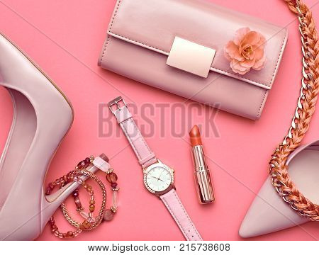 Fashion Design Woman Accessories Set. Pastel Colors.Cosmetic Makeup.Trendy fashion Handbag Clutch clothes. Flat lay.GlamorHeels. Luxury Minimal