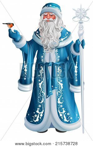Blue Russian grandfather frost. Russian Santa Claus Saint Nicholas. Isolated on white vector cartoon illustration