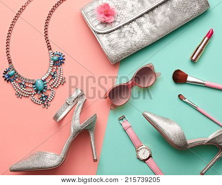 Fashion Design Woman Accessories Set. Luxury Shiny Party lady.Pastel Colors. Flat lay.Cosmetic Makeup. Glamor fashion shoes Heels. Trendy Handbag Clutch. Art. Minimal