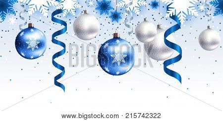 Festive Christmas decoration for website, social networks, blog or your video channel. Seamless horizontal pattern. The endless tape. Vector. EPS10. White, and blue christmas balls, serpentine