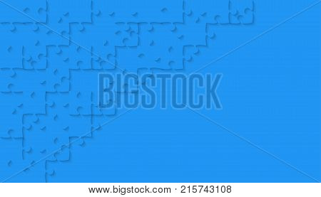 Blue Puzzle Pieces Arranged in a Rectangle - JigSaw - Vector Illustration. Jigsaw Puzzle. Abstract Vector Background.