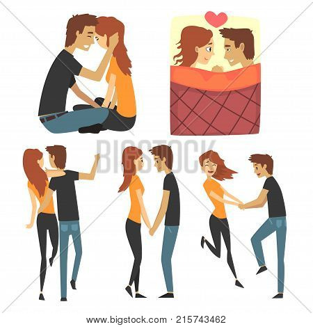 Young romantic couple set, boy and girl in love. Collection with lovers walking, having fun, holding hands, lying in bed under the blanket. Side and back view. Flat isolated vector people characters.