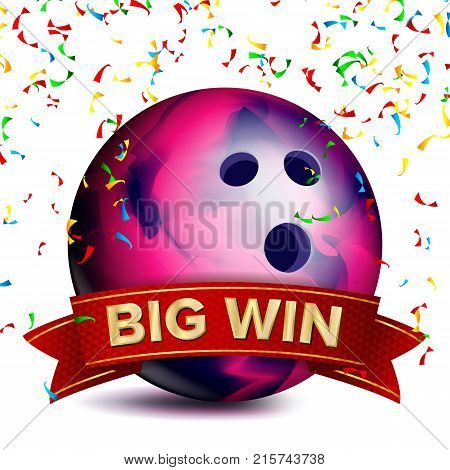 Bowing Award Vector. Red Ribbon. Big Sport Game Win Banner Background. Ball. Confetti Falling. Realistic Isolated