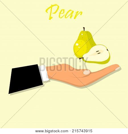 logo of fresh green pear juice. Vector round label, pear jam, sauce or juice label. Fresh pear on hand