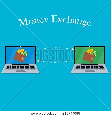 vector digital mobile wallet vector concept. Laptop screen with wallet coins and banknotes. Internet banking or wireless money transfer concept. Money exchange
