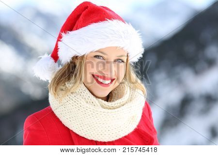 Woman Posing With Santa Hat In Christmas