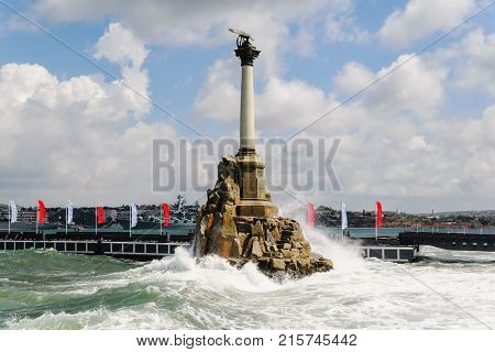 Monument to the Scuttled Ships in the afternoon on a background of clear sky