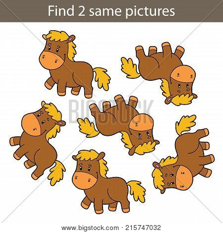 Vector illustration of kids puzzle educational game Find same pictures for preschool children
