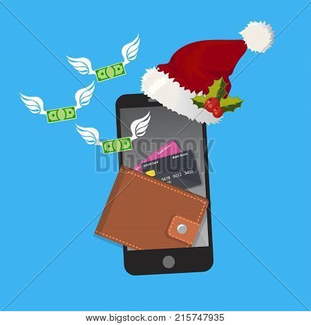 vector digital mobile wallet vector concept . smartphone screen with wallet and credit cards. Internet banking or wireless money transfer concept. Flying money