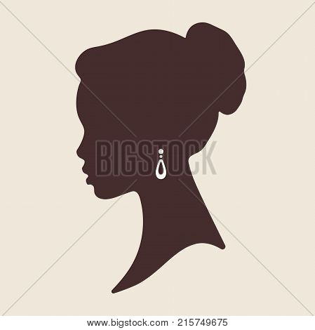 Silhouette Of Beautiful Elegant African Woman In Profile Isolated Vector Illustration. Beauty Salon