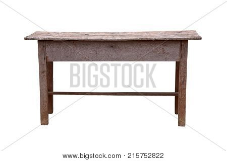 Old wooden school desk isolated on a white background work with clipping path.