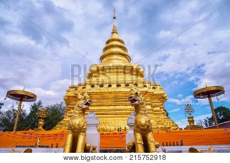 Pagoda at Phra that si chomtong worawihan temple the most famous landmark of Chiang mai province Thailand.