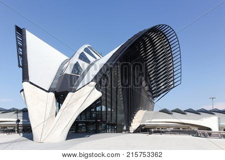 Lyon, France - May 27, 2017: Railway station connected to Saint Exupery airport in Lyon, France