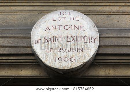 Lyon, France - May 26, 2017: Birthplace of Antoine de Saint-Exupery in Lyon, France. Here is born Antoine de Saint Exupery the 29th of june 1900 in French
