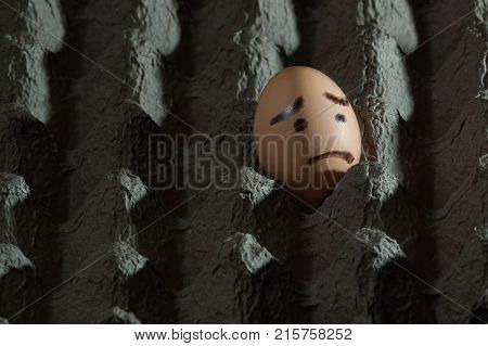 Egg with sad face painted on it alone in a cardboard egg carton facing out of the frame