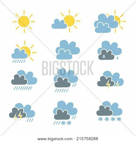 Set Of Weather Forecast Icon In Simple Flat Style Sunny Light Cloud Cloudy Rain Heavy Rain Thunder S