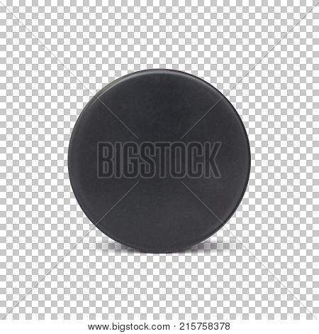 Realistic ice hockey puck. Vector illustration for your projects.