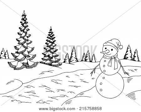 Winter forest graphic snowman black white landscape sketch illustration vector
