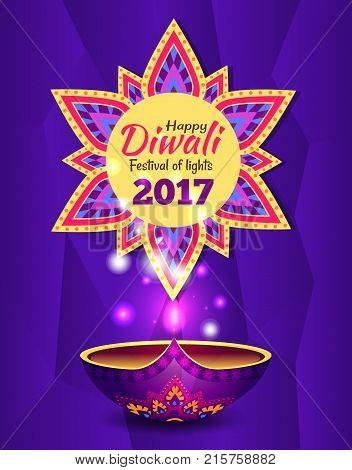 Happy diwali festival of lights 2017 promotional poster, depicting traditional diya lamp with glowing and mandala symbol vector illustration with text
