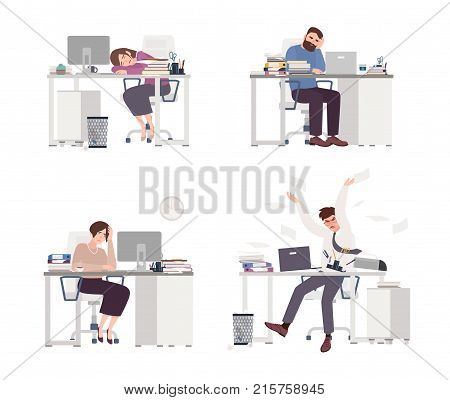 Collection of depressed people at work. Tired male and female office workers sitting, sleeping or expressing anger at desks with computers. Set of flat cartoon characters. Colored vector illustration