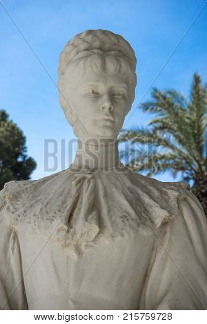Statue Of Empress Elisabeth From Austriain, In Front Of Achillion Palace, Corfu, Greece.