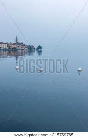 Panoramic View Of Salo Town Quay On The Garda Lake In Italy