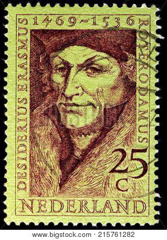 LUGA RUSSIA - NOVEMBER 06 2017: A stamp printed by NETHERLANDS shows Desiderius Erasmus Roterodamus known as Erasmus or Erasmus of Rotterdam circa 1962