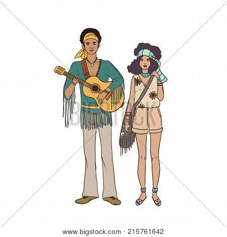 Young hippie man with guitar and woman dressed in ethnic clothing standing together. Male and female characters isolated on white background. Pair of street musicians. Vector illustration