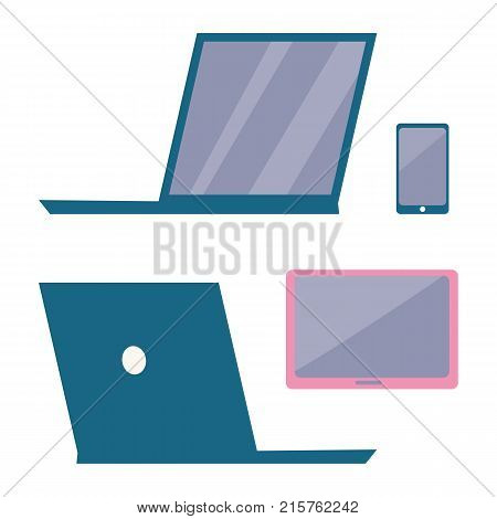 Modern electronic devices icons isolated on white background. Vector illustration with blue laptop and smartphone near to pink tablet