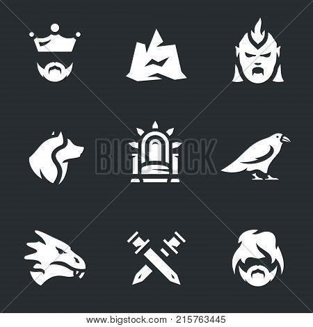 King, mountain, monster, wolf, throne, raven, dragon, swords, troll.