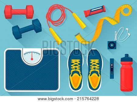 Convenient equipment for fitness vector illustrations set. Comfortable sneakers, tools for exercises, floor scales, water bottle and mp3 player.